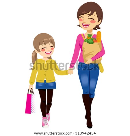 Beautiful mom with grocery paper bag and daughter shopping together helping parent holding bags - stock vector