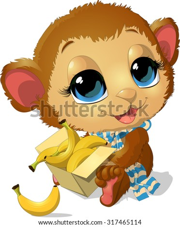 beautiful monkey that holds its legs in the box of bananas - stock vector