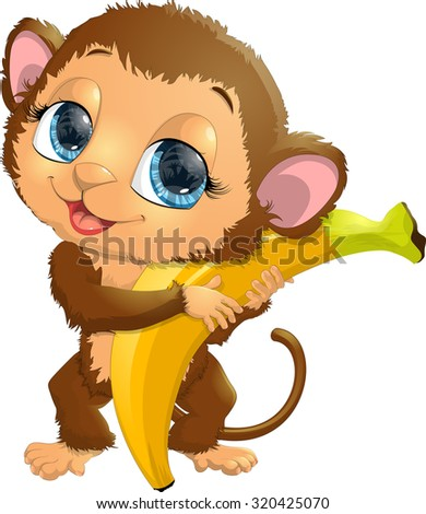 beautiful monkey, which holds in paws a delicious banana - stock vector