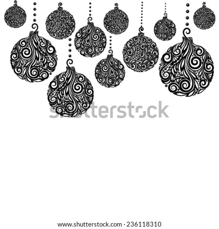 beautiful monochrome Black and White Christmas background with Christmas balls Hanging . Great for greeting cards - stock vector