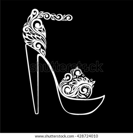 beautiful monochrome black and white sandals, decorated with floral ornament isolated. design for greeting card and invitation of wedding, birthday, Valentine's Day, mother's day and seasonal holiday - stock vector