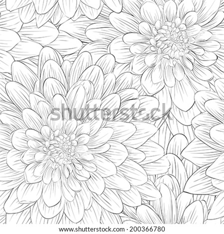 Beautiful monochrome, black and white seamless background with flowers dahlia.  Hand-drawn contour lines and strokes.  - stock vector