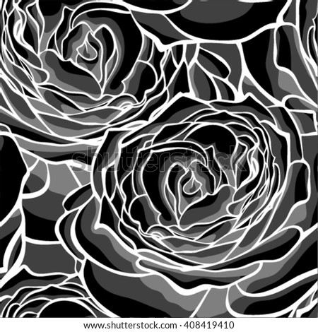 Beautiful monochrome, black and white seamless background with roses. for design for greeting card and invitation of the wedding, birthday, Valentine's Day, mother's day and other seasonal holiday
