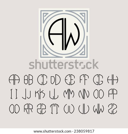 beautiful monogram art nouveau and a set of templates of letters inscribed in a circle