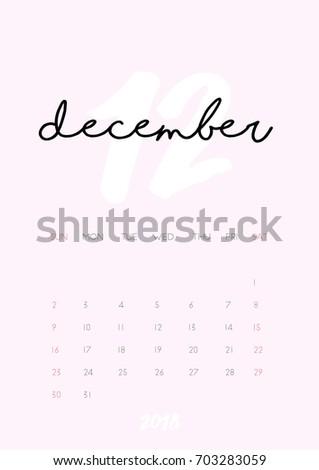 monthly calendar december 2018