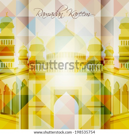 Beautiful Mosque and Masjid background for Ramadan Kareem or Ramazan Kareem and eid. EPS 10.vector background - stock vector