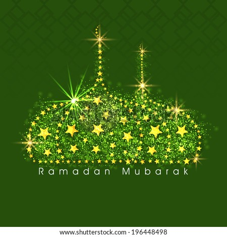 Beautiful mosque design decorated with shiny stars on green background for holy month of muslim community Ramadan Kareem.  - stock vector