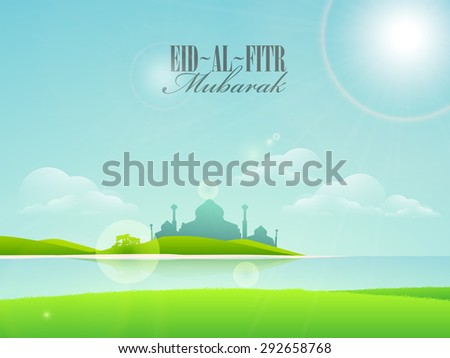 Beautiful mosque on shiny cloudy nature background, Creative greeting card design for Islamic festival, Eid-Al-Fitr celebration. - stock vector