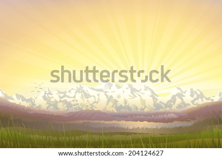 Beautiful mountain landscape at sunset in the evening