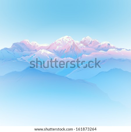 Beautiful mountain landscape (hand drawn with brushes) - vector illustration. - stock vector
