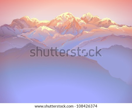 Beautiful mountain landscape on sunset (hand drawn with brushes) - vector illustration. - stock vector