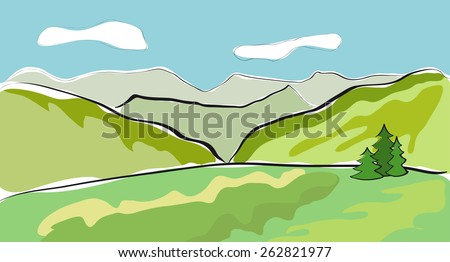 Beautiful mountain landscape. Vector illustration