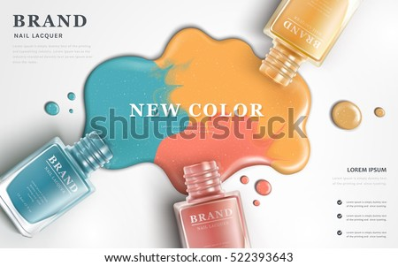 Beautiful nail lacquer ads, top view of colorful nail polish splatter on white background, 3d illustration, vogue ads for design