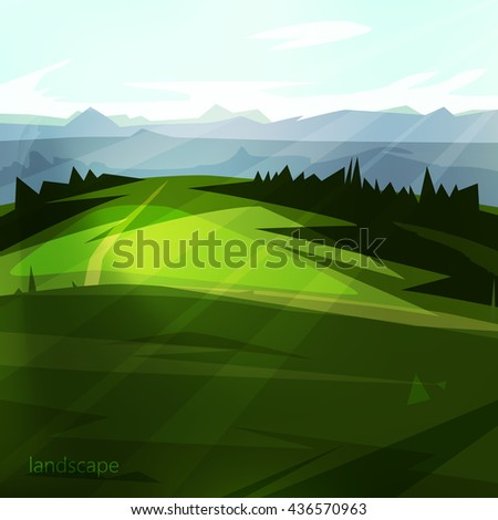 Beautiful natural scenery. landscape with trees, beautiful meadow and mountains A great background for your design.