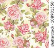 Beautiful natural seamless pattern. Elegance wallpaper with of pink roses on floral background, vector illustration. - stock vector