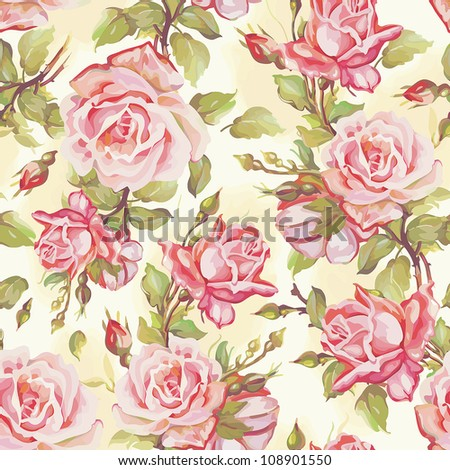 Beautiful natural seamless pattern. Elegance wallpaper with of pink roses on floral background, vector illustration.