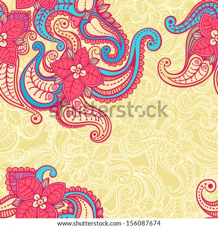 beautiful natural yellow abstract pattern with blue and pink flowers. vector illustration