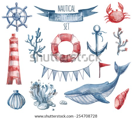 Beautiful nautical set. Watercolor vector. Include lighthouse, anchor, corals, seaweed, whale, shells, steering-wheel and buoy ring - stock vector