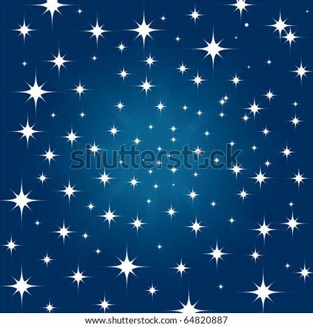 Beautiful night star sky background - stock vector