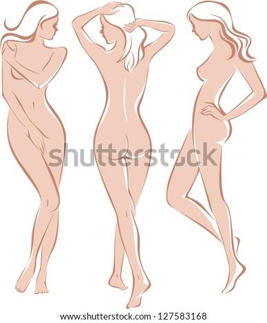 Beautiful nude woman silhouette - stock vector