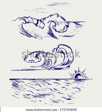 Beautiful Ocean Wave. Doodle style - stock vector