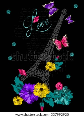 Beautiful of paris with flowers and butterflies graphic Illustration in vector format - stock vector