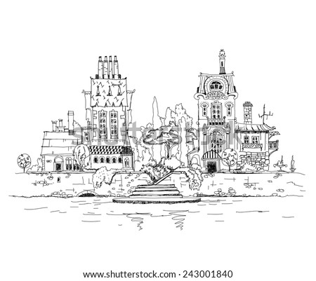 Beautiful old town on the river side, sketch illustration - stock vector