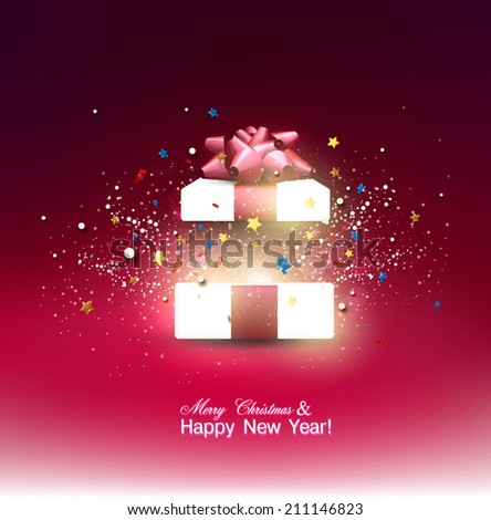 Beautiful open Christmas gift with red bow and place for text. Vector