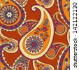 beautiful orange paisley seamless background - stock vector