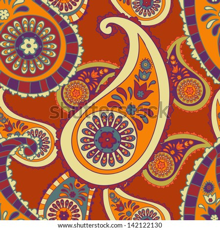 beautiful orange paisley seamless background - stock vector