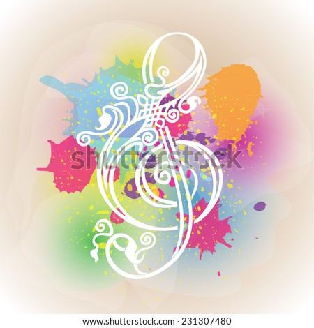 Beautiful ornate treble clef on a colorful background of blots and stains