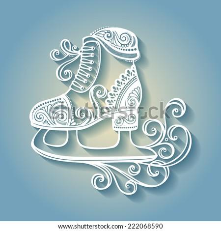 Beautiful Ornate Winter Skates (Vector), Patterned design - stock vector