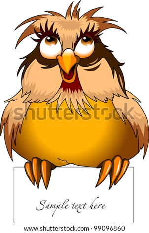 Beautiful owl holding in its talons a piece of paper (vector illustration); - stock vector