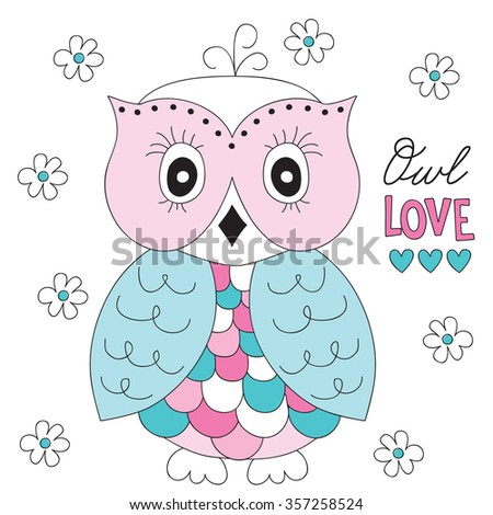 beautiful owl with flowers vector illustration - stock vector