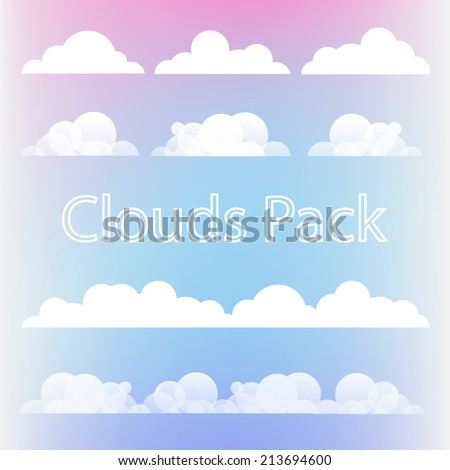 Beautiful pack of  different flat Clouds for your air design