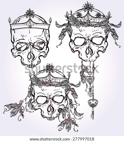 Beautiful pagan sculls with feathers and elegant crowns on watercolor background. Design set. Tattoo design elements. Vector illustration. Religion, spirituality, occultism, science, alchemy magic. - stock vector