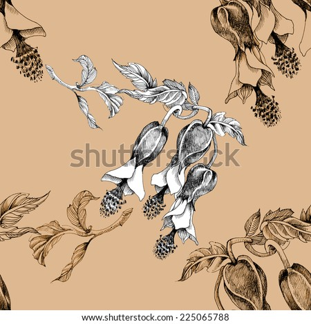 Beautiful painted flower seamless pattern on beige background vector illustration