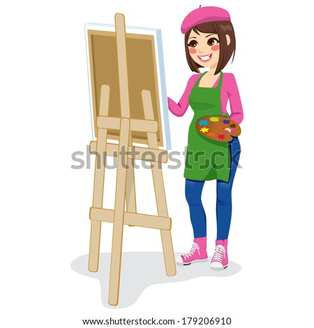Beautiful painter artist woman holding palette and painting on canvas on easel - stock vector