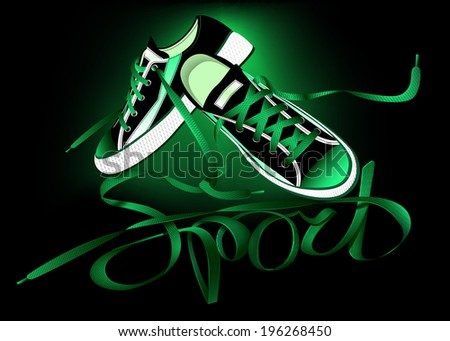 beautiful pair of green sneakers and laces forming the word sport on a black background - stock vector