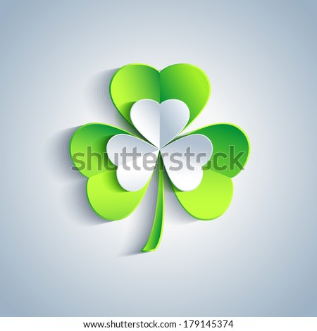 Beautiful Patrick's day card gray with 3d leaf clover. Trendy Patrick's day background with gray and green leaf clover. Modern floral background. Vector illustration  - stock vector