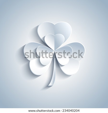 Beautiful Patricks day card with grey 3d leaf clover. Trendy gray Patricks day background. Modern spring background. Vector illustration  - stock vector