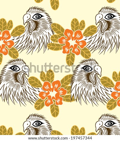 beautiful pattern eagles and orange flowers. - stock vector