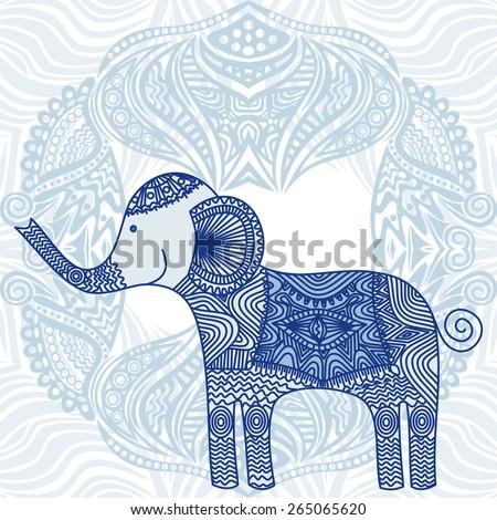 Beautiful pattern elephant vector illustration - stock vector