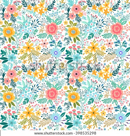 Beautiful pattern in small flower. Small colorful flowers. White background.  - stock vector