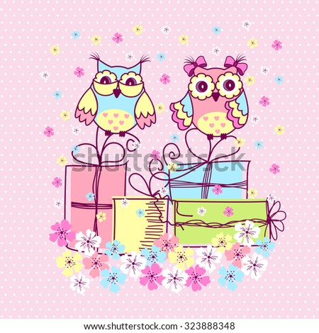 Beautiful pattern postcard with owls and gifts on pink background - stock vector