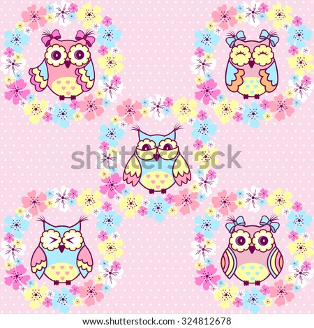 Beautiful pattern with owls and flowers on a pink background - stock vector