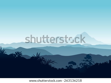 Beautiful, peaceful and spiritual mountain landscape with forest silhouette at the front and mountain in the background. - stock vector