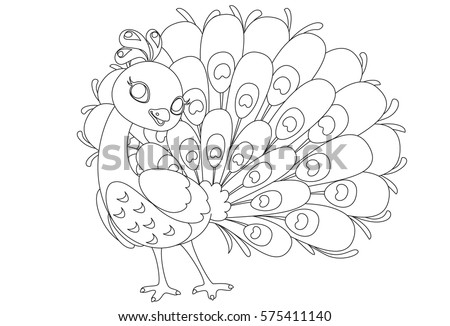 Beautiful Peacock Cartoon Outline Drawing Color Stock Vector ...