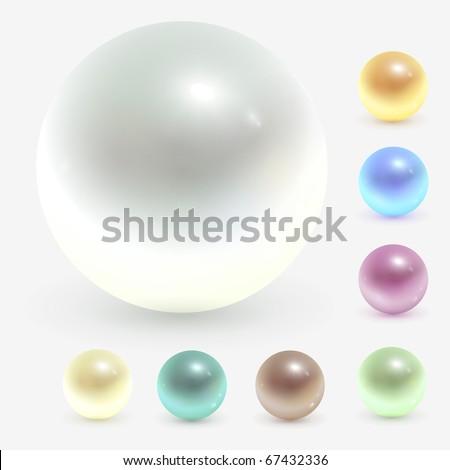 Beautiful pearls, realistic vector illustration. - stock vector