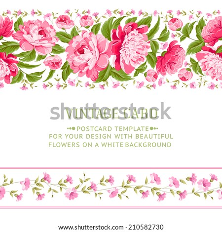 Beautiful peonies card design with red frame. Vector illustration. - stock vector